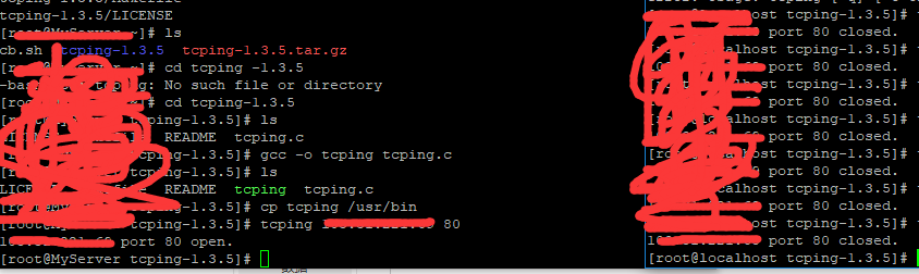 关于linux使用tcping 检测 远程服务器端口是否开放